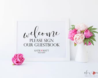 Please Sign Our Guestbook Printable. Wedding Welcome Sign Printable. Personalized Wedding Sign. Wedding Guestbook Sign. Sign Our Guest Book.