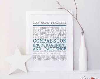 Teacher Printable. Christian Teacher Gifts. Printable Teacher Gift. Printable Teacher Sign. Teacher Gift Ideas. Teacher Print Gift.