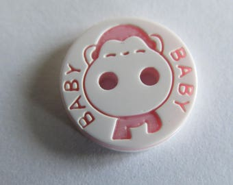 White monkey button listing BaBy pink