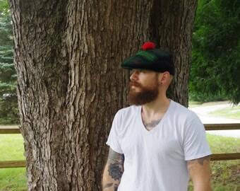 vintage golf hat / vintage mens hat / vintage scottish hat / vintage flat cap / vintage wool hot / green mens hat / vintage ivy cap