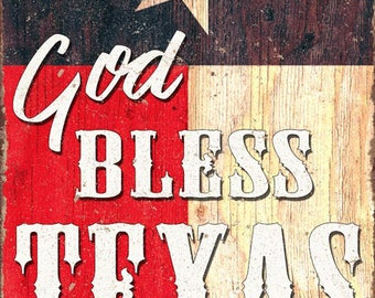 God Bless Texas Metal Sign, Flag, Patriotic, Country
