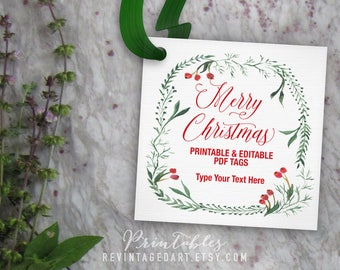Merry Christmas Tags, Editable Christmas Gift Tag Template // Printable Tag // 3 inch 3x3 PDF DIY Digital Download Red and Green Wreath Tags