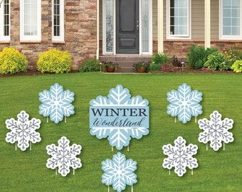 Winter Wonderland Shaped Lawn Decorations   Outdoor Yard Decor   Snowflake  Holiday Party U0026 Winter Wedding