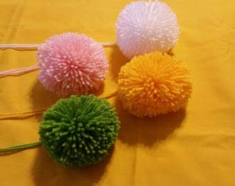 """PARTY THEME DECOR - Set of Four Pom Poms, White, Yellow, Pink & Green, 3"""" and 3/8"""" (85 mm) in Diameter, Acrylic Yarn, Includes A Long Tail."""