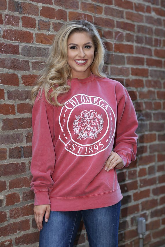 Chi Omega Comfort Color Crewneck Sweatshirt - ChiO Letter Shirt - Comfort Color Oversized Shirt SXN6F0t07