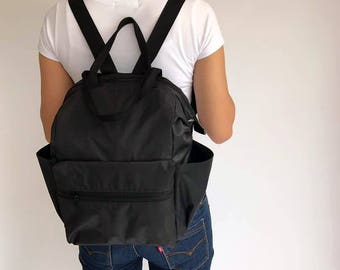 SALE 15% Black Nylon Backpack Diaper Bag Water resistant Backpack,backpacks ,Laptop bag, diaper bag, School bag, Gift for her, Baby Shower