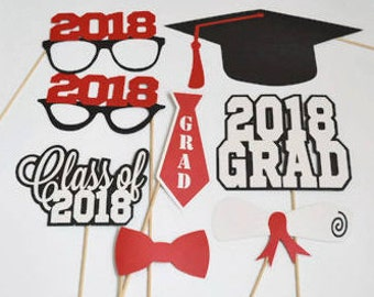 Graduation Photo Booth Props - Set of 12 - Photobooth Props - Class of 2018 - 2018 Graduation - Graduation Party - Graduation Centerpieces