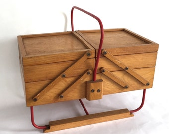 Worker / vintage red metal and wood sewing box