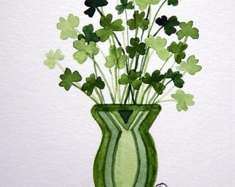 Shamrocks, St. Patrick's Day, Vase of Shamrocks, Watercolor Note Cards - No. 1223 Vase of Shamrocks