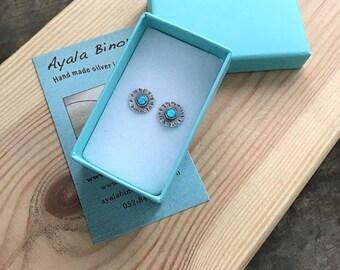Opal studs earings , Sterling silver opal studs, Silver opal studs, Studs with Opals, Silver Opal Posts, October Birthstone