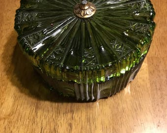 Vintage Avocado Green Candy Dish from the 1960's