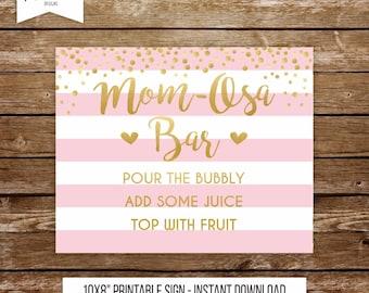 Momosa bar sign printable baby shower mimosa bar sign mom osa sign baby shower bar mimosa bar sign printable baby shower pink and gold 251