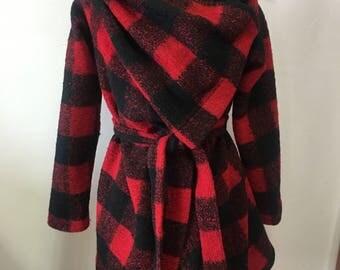 Blanket wrap coat, Square coat, wool wrapped coat, Buffalo Plaid wool coat, Wool Cardigan, Red coat, Black Cardigan