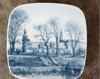 "Danish Plate KRONBORG~3"" Mini Plate Blue & White China~Collectible Plate Depicting Kronborg Castle~Vintage Wall Decor~JewelsandMetals."