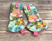 FLORAL BLOOM Drool Pads!  Teal Floral Suck Pads. Flowers. Citrus. Tula, Kinderpack, Lillebaby, Ergo, MJ, Bjorn, Beco, Chimparoo, Boba, other