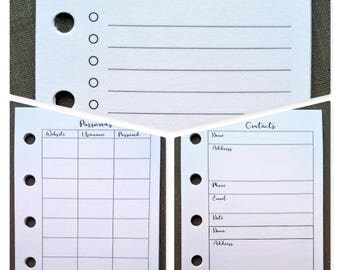 Mini size printed and 5-hole punched planner inserts
