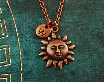 Sun Necklace SMALL Radiant Sun Charm Necklace Celestial Sun Jewelry Copper Sun Pendant Necklace Personalized Necklace Bridesmaid Necklace