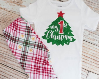 First Christmas Christmas Tree and Leggings Baby Outfit for Christmas Eve or Santa Pictures