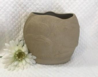 Dayle Rushall Studio Pottery Vase, Bunnies Design, Parrot Design, 1981, Bunny Vase, Parrot Vase, Toucan Vase, Rabbit Vase