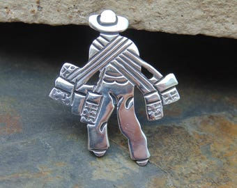 Victoria ~ Vintage Taxco Sterling Silver Farmer Man Carrying Many Bags Brooch / Pin c. 1950's