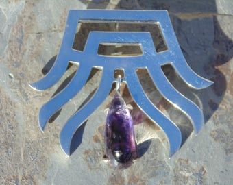 Taxco Sterling Silver and Free Swinging Amethyst Center Pendant / Brooch