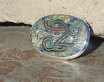 Vintage Taxco Sterling Silver, Copper, Brass and Crushed Stone Quetzalcoatl Oval Pendant / Brooch / Pin