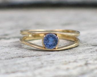14K Yellow Gold Tanzanite Split Shank Ring