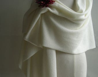 Bridal Wrap/ Shawl / Wedding Cover Ups - Knitted in Lambswool - Colour Creamy White