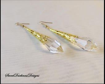 Victorian Earrings, CRYSTAL Earrings,  Filigree Earrings, CLEAR Crystal Earrings Gold Earrings, Teardrop Earrings by SweetDarknessDesigns