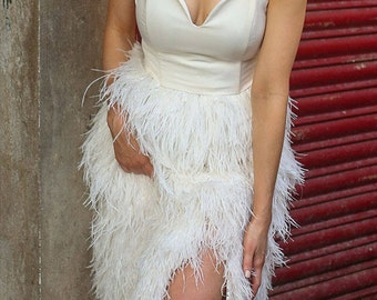 Delphine Ostrich Feather Skirt in Snow