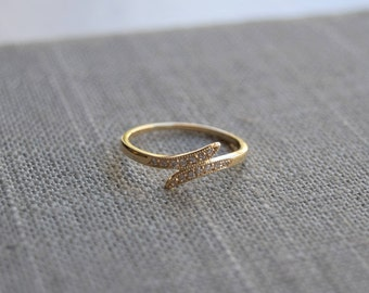 14k Yellow Gold Leaf Ring Engagement Diamond Stackable Wedding