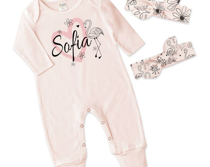 Special Offer! Personalized Newborn Girl Coming Home Outfit, Newborn Girl Take Home Romper and 2 Headbands, Pink Flamingo, Tesababe
