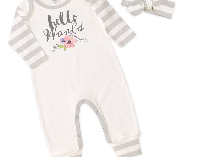 Newborn Girl Hello World Coming Home Outfit, Newborn Baby Girl Romper, Baby Girl Hello World Romper Headband TesaBabe RH81IYGIS59BGIS