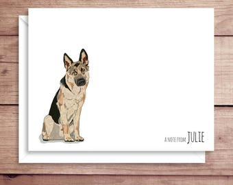German Shepherd Note Cards - Folded Note Cards - Personalized Stationery - Dog Stationery - Thank You Notes - Illustrated Note Cards
