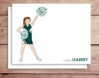 Cheerlearder Note Cards - Folded Note Cards - Personalized Cheerleader Stationery - Thank You Notes - Cheerleading Note Cards