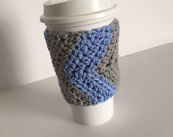 Crochet Cup Cozy - Chevron Cup Cozy - Cup Warmer - Cup Koozie - Cup Holder - Cup Sleeve - 100% Cotton -Blue and Grey Cup Cozy - Mug Sleeve
