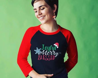 Joyful Merry Blessed - Christmas Sweater - Jesus - UNISEX