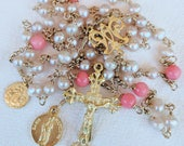 Rosary - Freshwater Pearl Coral - Mary  Magdalene & Saintes Maries - 18K Gold Vermeil