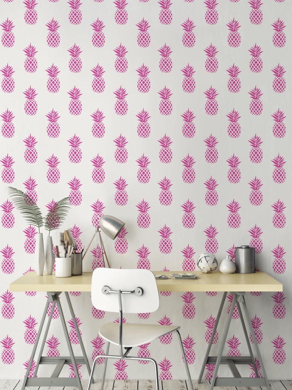 Mignon ananas papier peint rose fruits fond d cran amovible - Papier peint ananas ...