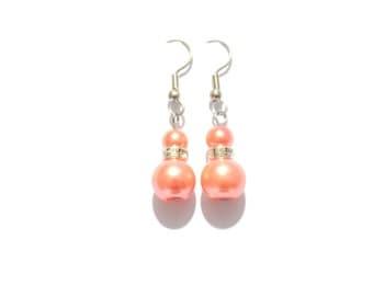 earrings, orange pearl earrings, pearl earrings, orange earrings, dangle earrings, bridesmaid earrings, drop earrings