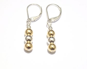 Gold and silver earrings, 14K gold earrings, sterling silver dangle earrings, gold and silver ball earrings, bridal earrings, gift for her