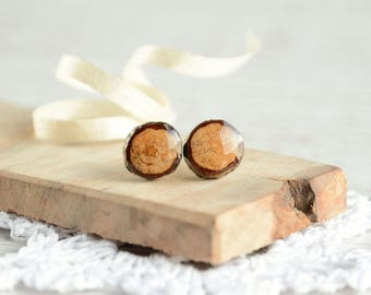 Natural wood studs with bark and resin, tree branch wooden earrings, natural fashion, minimalist wooden earrings, sterling silver posts