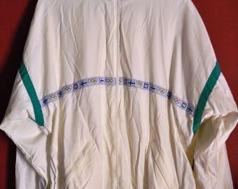vintage 80s Windbreaker Colorblock white Shell Jacket XXL zipup retrosport  Olympic games Activewear