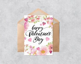 Printable Valentine Card - Floral Wreath - Instant Download PDF Pink Floral Valentine's Day Card - Cut and Fold Greeting Card