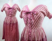 30s 40s Day Dress in Mauve and White Striped Seersucker Feedsack Fabric with Faux Peplum and Pussy Bow - RARE size LARGE/XL