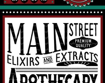 Main Street Apothecary Sign | Cutting File | Printable | svg | eps | dxf | png | Vintage | Farmhouse | Home Decor | Stencil