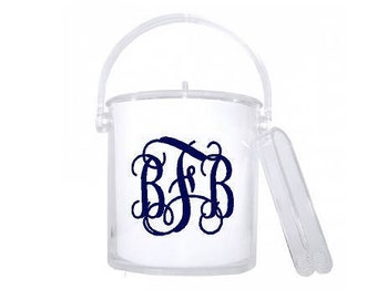 Monogrammed ice bucket with tongs. Personalized clear acrylic ice bucket with tongs. Free vinyl monogram decal!