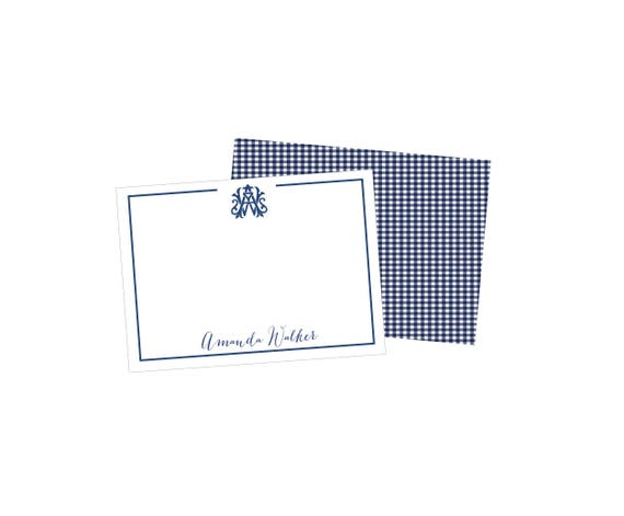 wedding monogram stationery, interlocking monogram stationery, monogrammed notecards, monogrammed stationary set, gingham notecards