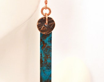 Turquoise Earrings - Copper Earrings - Patina Earrings - Boho Earrings - long earrings - verdigris earrings - turquoise jewelry jewelry