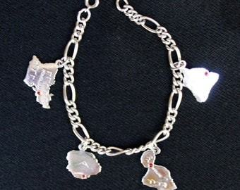 Vintage sterling silver HAWAIIAN ISLANDS  souvenir charm  Bracelet with red stones